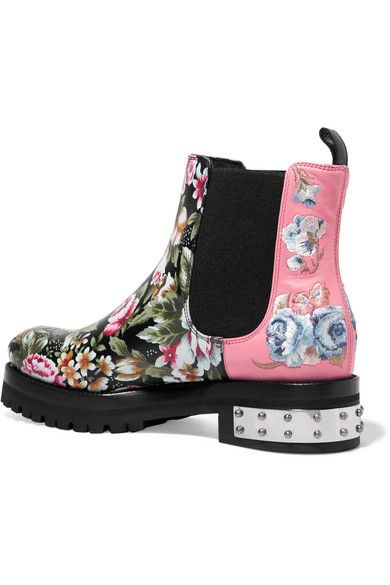 Alexander McQueen - Embroidered Printed Leather Chelsea Boots - Pink - IT38.5