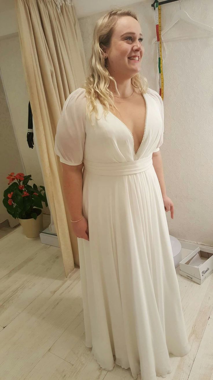 Simple plus size wedding gown with short chiffone sleeves for Pinterest dresses for wedding
