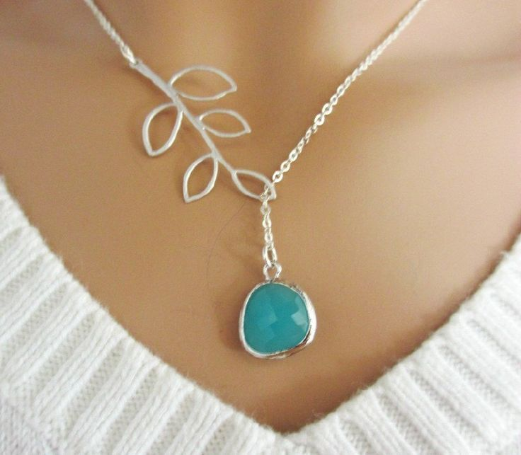 Aqua and Branch Lariat Necklace, Aquamarine Pendant, Leaf Branch Charm. $25.00, via Etsy.
