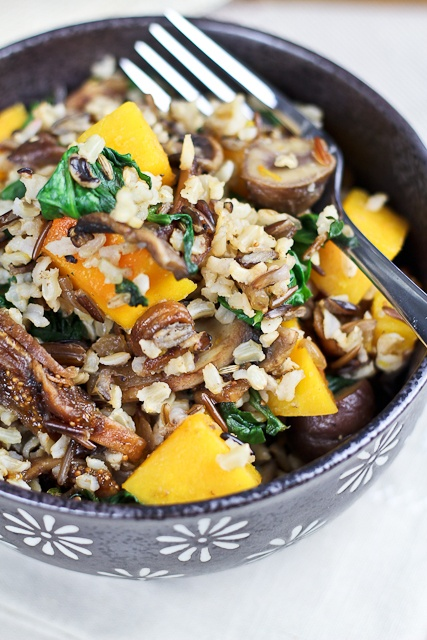 Brown & Wild Rice Dish with Butternut Squash, Spinach and Figs | Reci ...