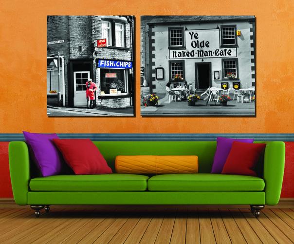 Срок Годности Продвижение Город Впечатление Искусство 2 шт. Модульная Картина Городского Пейзажа Современные Украшения В Гостиной