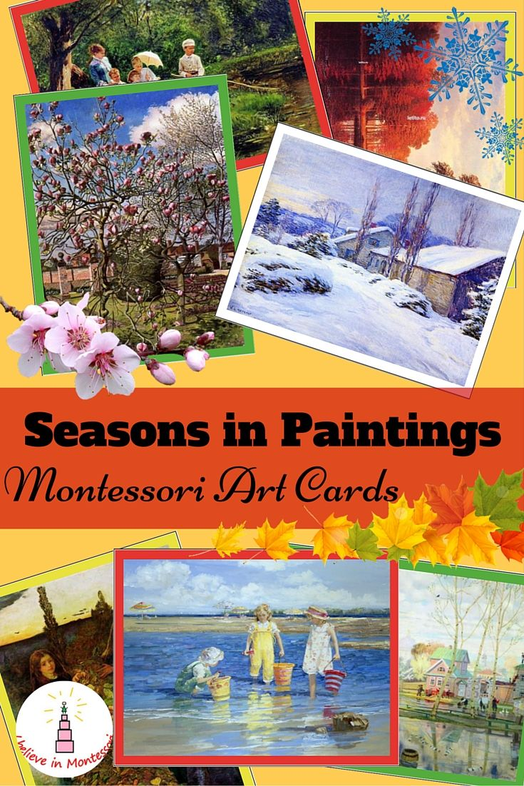 Learning about seasons with the help of paintings montessori art sorting cards. Montessori language and art appreciation