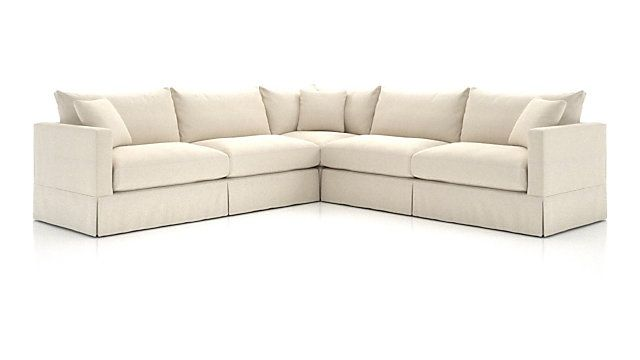Willow 3 Piece Modern Slipcovered Sectional Reviews Crate And Barrel Sectional Slipcover Slipcovers Sectional