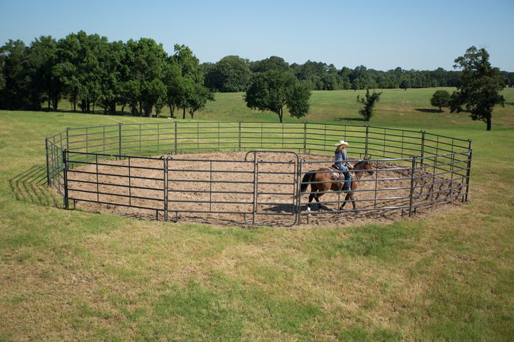 Available in 40', 50', 60', and 70' diameters, 6' Tall Premier Round Pens are constructed from our patented Quadraform™ tubing to allow for maximum strength and flexibility, and are ideal for horse owners that prefer taller pens.
