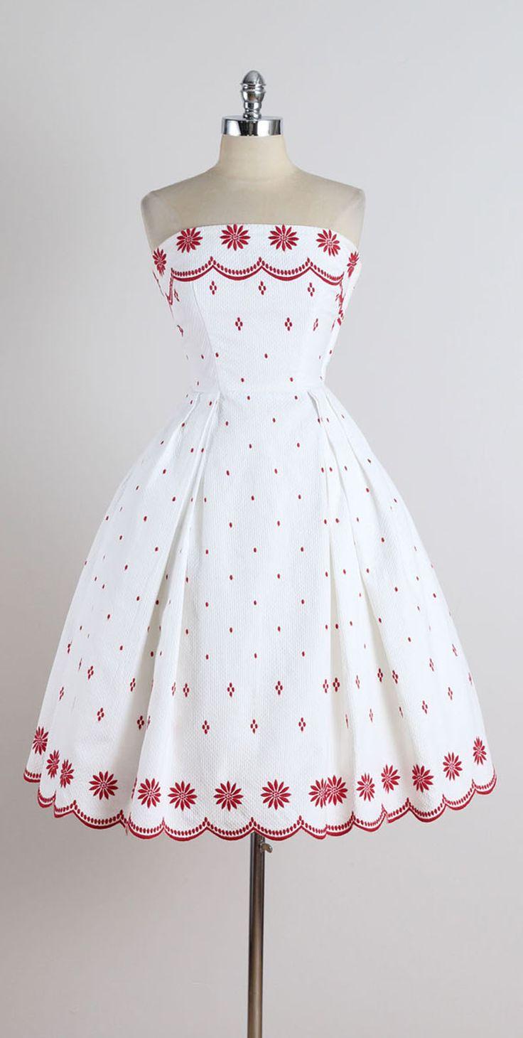 Vintage 1950s Ruth Chagnon White Cotton Pique Dress