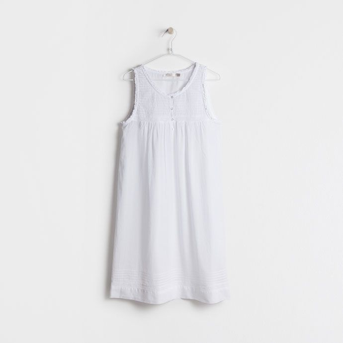 EMBROIDERED COTTON NIGHTDRESS WITH BUTTONS -  | Zara Home SOUTH KOREA / 대한민국