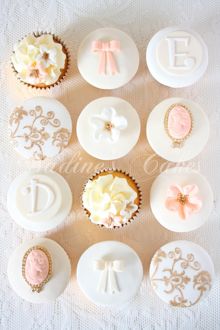 Nadine's Cakes & My little white home: Victorian wedding cupcakes with a vintage twist
