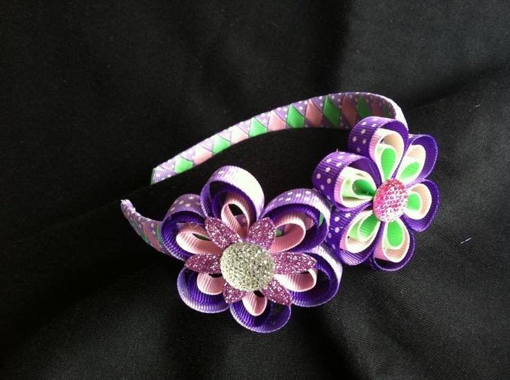 Woven Headband with ribbon flowers