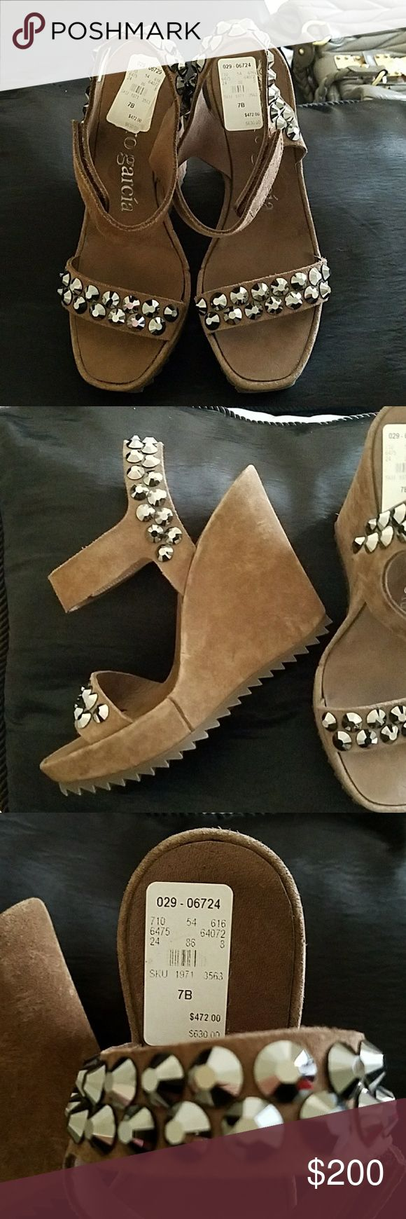 Pedro Garcia Brown wedges Pedro Garcia Brown Leather wedges with Swarovski Crystals size 7. I absolutely love this pair of shoes 😍 never worn Pedro Garcia Shoes Wedges