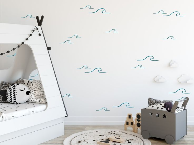 Add a beachy feel to any room of your home with these wave wall decals #coastal …