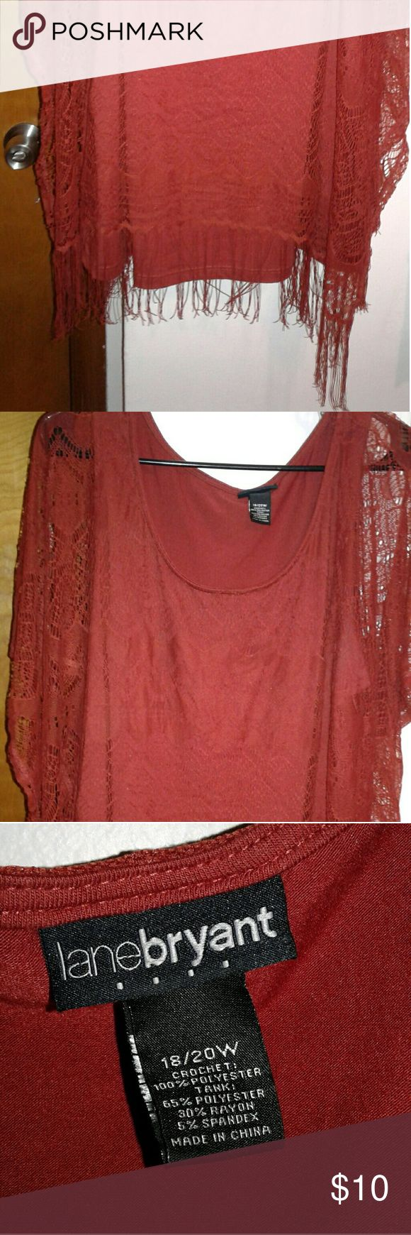 Crochet boho rust colored top Very edgy and unique, boho fringe blouse Tops Blouses