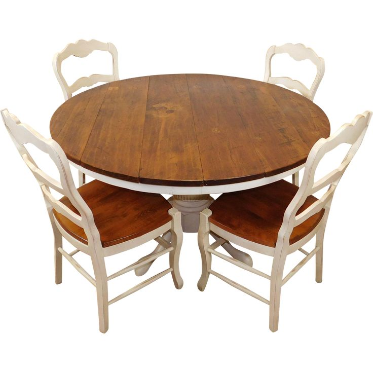 """Primitive Kitchen Table And Chairs: Fantastic Rustic Primitive Pine & White 53"""" Round Kitchen"""