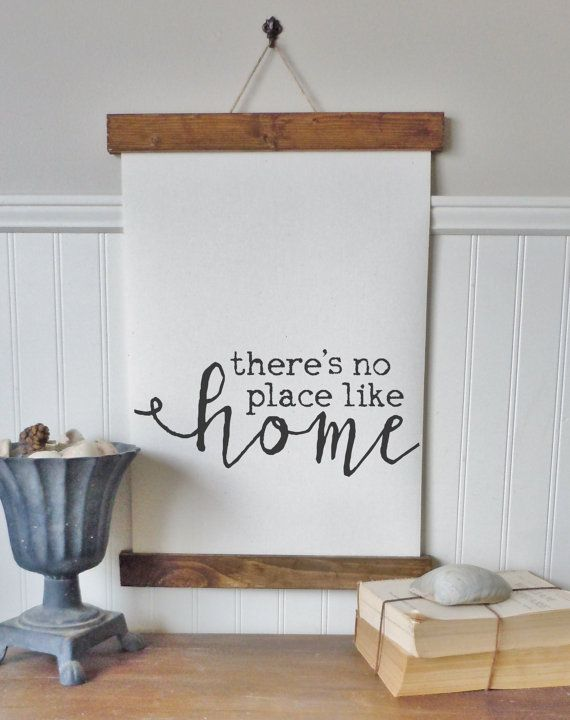 Theres no place like home  Printed on professional canvas sheets and printed with archival pigment inks.  Three choices- framed or print ONLY-see options for pricing  Print only sizes- 8.5 x 11 inches 13 x 19 inches  Finished poster frame sizes-pictured first. The print is secured between slats of wood on top and bottom with twine added for hanging. Wood is stained in walnut. Sizes- 9.5 x 13 inches 14 x 21 inches  Finished box frame sizes- pictured second and third 10 x 13 inches-pictured…