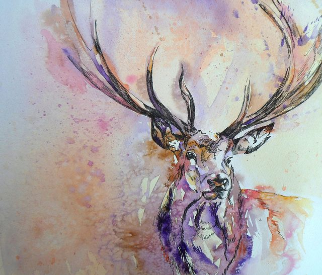 Watercolor stag would make a beautiful tattoo... maybe I could do this as a doe in more silver as a Snape tribute?