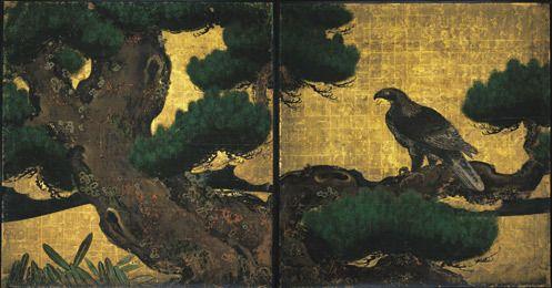 日本画 「松鷹図」 by 狩野探幽