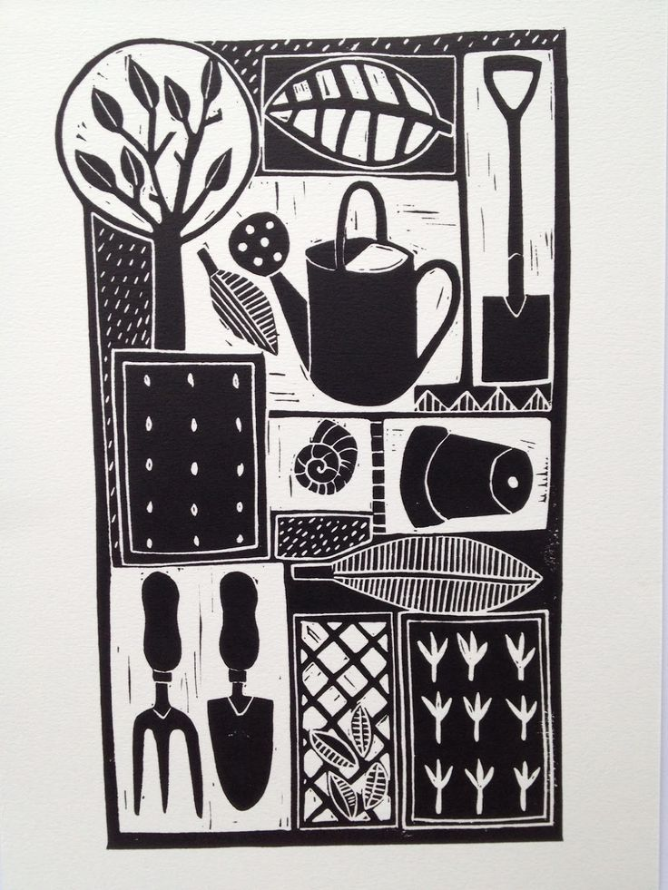 Jan Brewerton Lino Print On Satin Paper