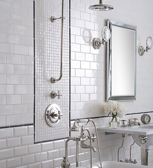 White Subway Tile Bathroom Design, Pictures, Remodel, Decor And Ideas    Page 3 Enjoy The Thin Black Tile. Part 12