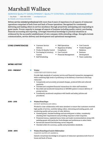 Waiter  Waitress CV example  Students  Resume skills