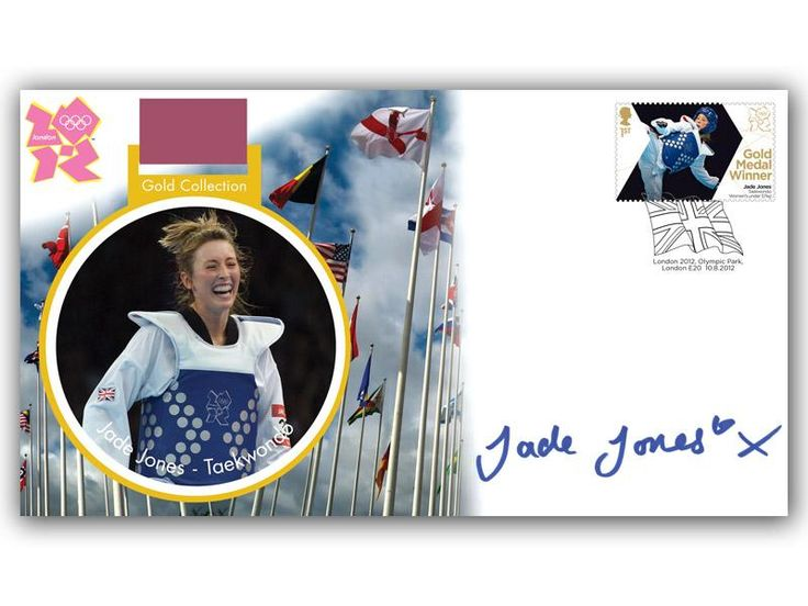 London 2012 Olympic Gold Medal Winners cover. Personally Autographed by Jade Jones. Women's Taekwondo