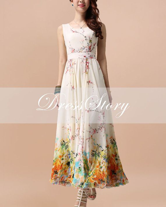 Floral Maxi Dress Floral Evening Dress Yellow by DressStory