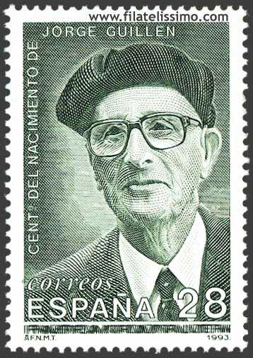 Sello español dedicado al poeta de la Generación del 27, Jorge Guillén en el centenario de su nacimiento (Valladolid, 1893 - Málaga, 1984).