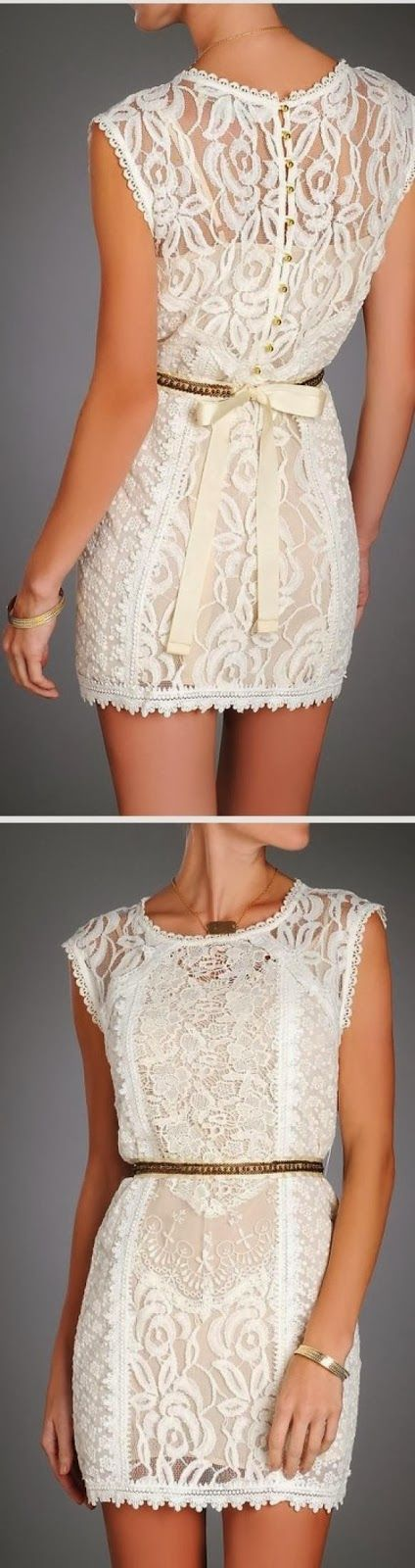 White Sleeveless Lace dress Click for more