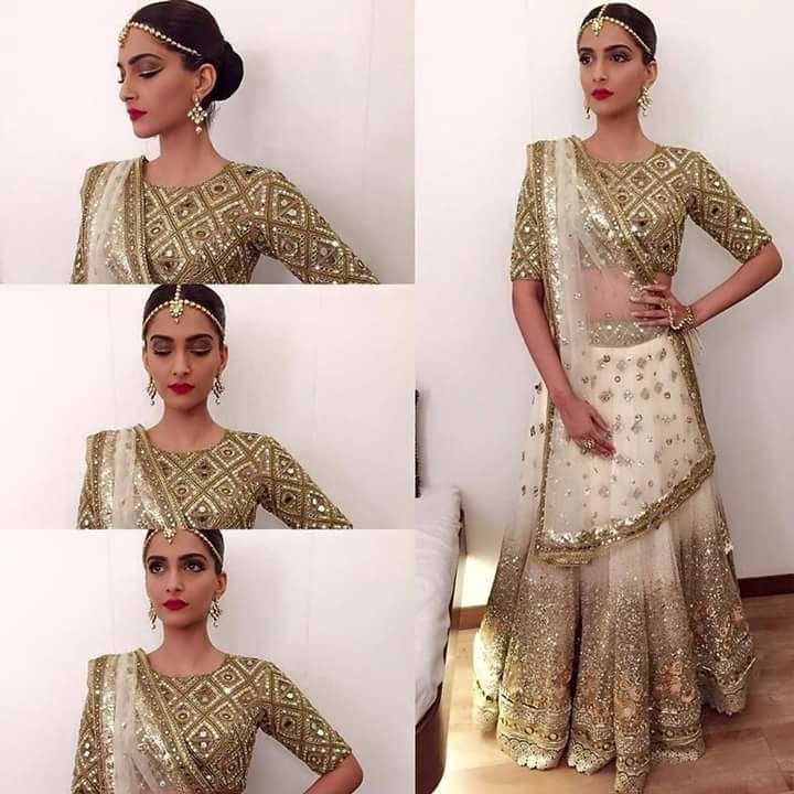 Sonam Kapoor looks beautiful in White and golden combination
