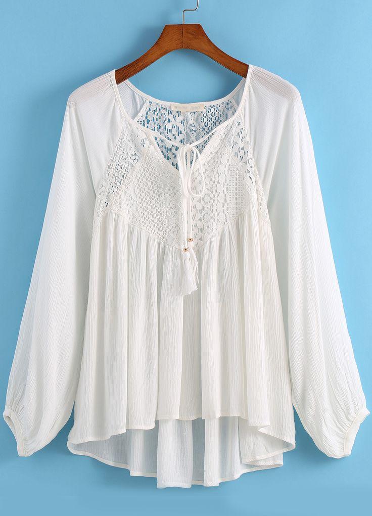 White Long Sleeve Lace Dip Hem Blouse 16.00