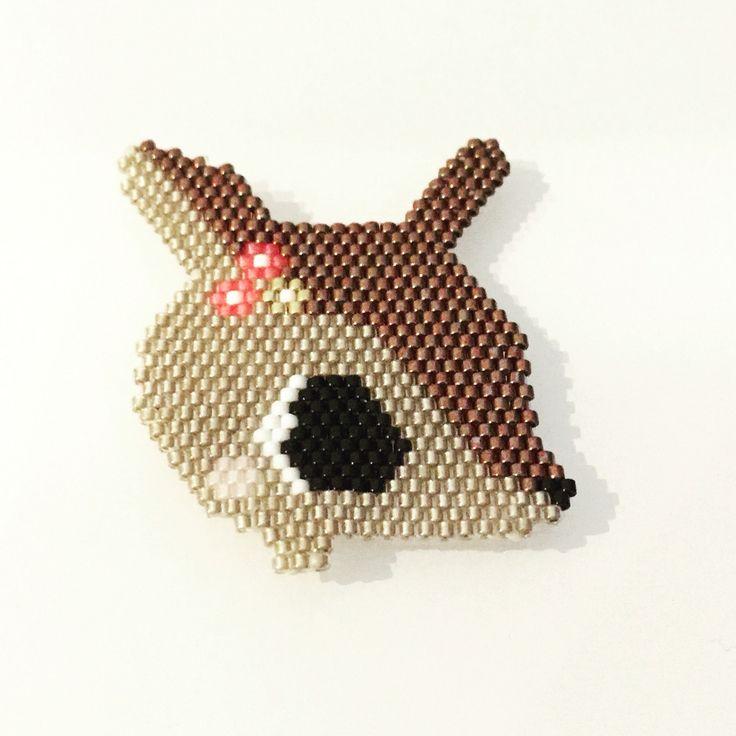 Petite biche en perle miyuki, brick stitch