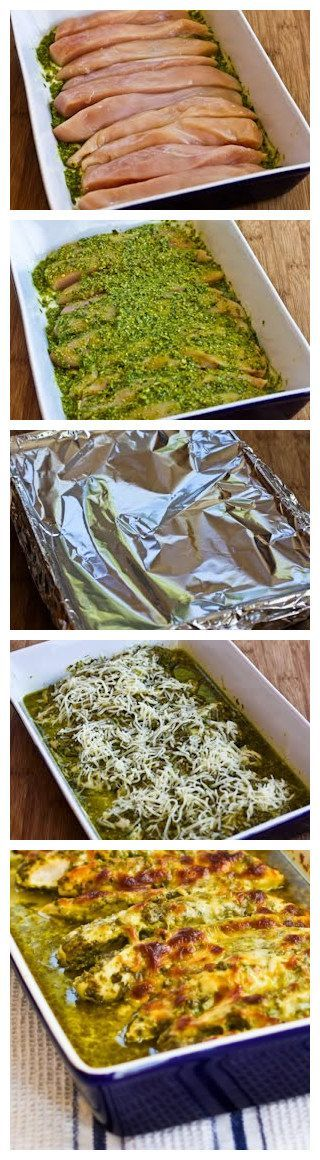 Baked Pesto Chicken..... So moist baked it at 375 for 30 min (covered) then broiled with cheese for 5 min..