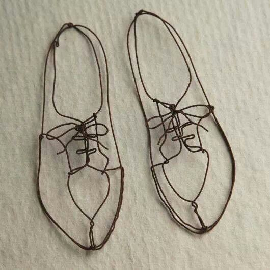 Drawn with shoe strings