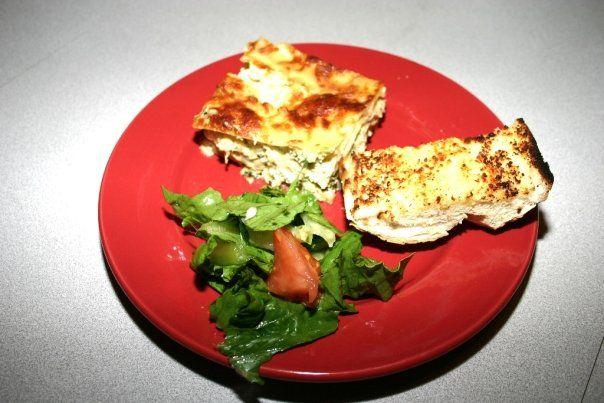 Chicken Lasagna with Spinach, Artichoke Hearts in a Creamy Garlic White Sauce