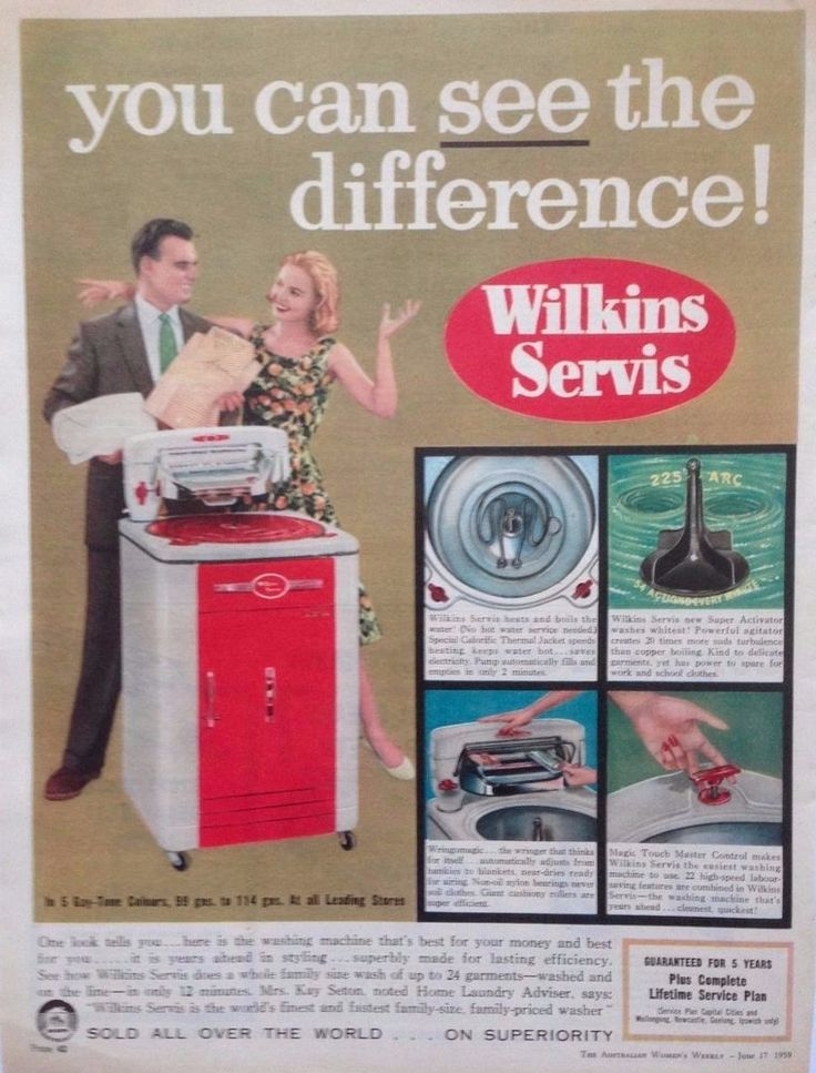 WILKINS SERVIS AUTO WASHER WRINGER AD 1959 Original Vintage AUSTRALIAN Advert