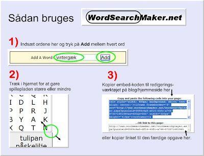 Skolestuen: WordsearchMaker - Lær at lave jeres egne interaktive ordsøger-opgaver