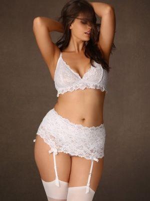 Plus Size Savoir Faire Stretch Lace Garter Belt, White