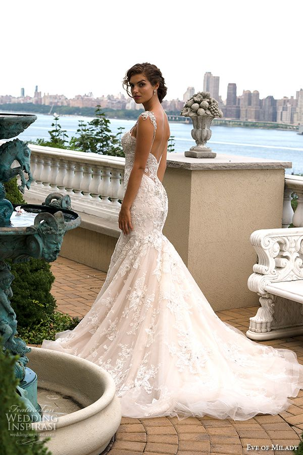 eve of milady couture fall 2015 beaded strap sweetheart neckline beaded appliques lace embroidery mermaid wedding dress 4341
