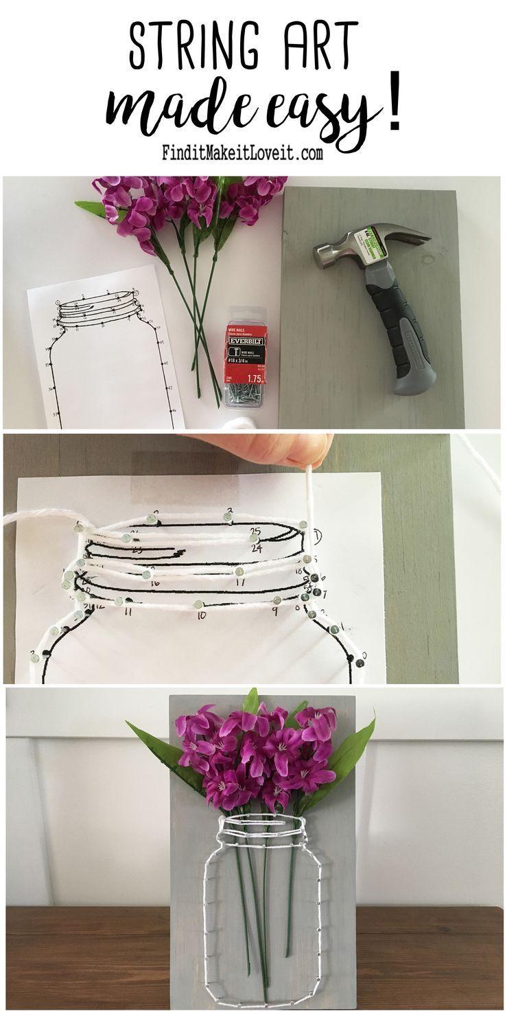 Mason Jar string art avec un modèle imprimable pour le rendre facile