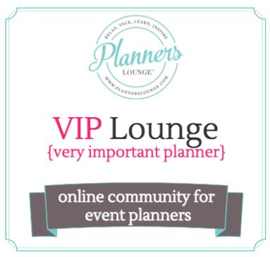 The VIP (very important planner) lounge is a private online forum for wedding and event planners to ask questions, answer questions, share resources, and connect with other event planners. Click through to the website to learn more and join us today!