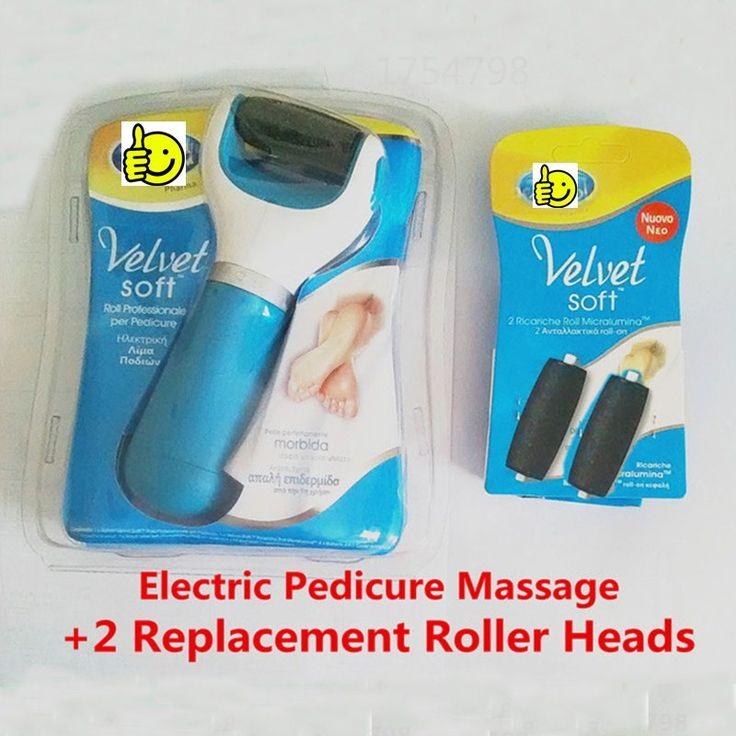Pedicure elétrica massagem + 2 substituição cabeças de rolo pés ferramenta de cuidados calcanhar cuidados com a pele esfoliante remoção cutícula moagem peeling alishoppbrasil