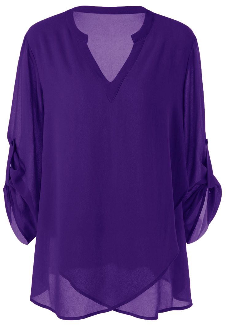 Plus Size Split-Neck Adjustable Sleeve Blo