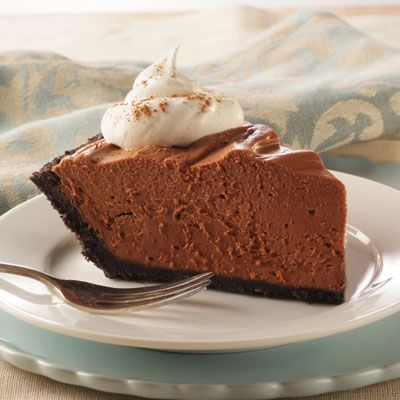 No-Bake Chocolate Cheesecake Pie | Meals.com -  A rich, chocolate cheesecake that's easy to make and will impress your guests! This no-bake recipe is simple to prepare and makes a perfect make-ahead dessert option.