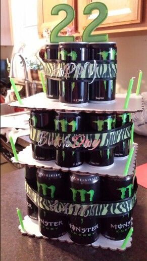Monster Energy Drink Cake 8 16 Oz Cans On Bottom Layer