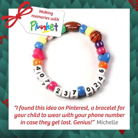 #4 Crowds can be a real challenge with little ones, create a special bracelet for your child to wear with your phone number in case they get lost #plunketadventcalendar