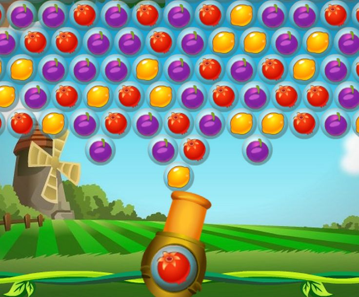 Classic Bubble shooter game with Fruit. Shoot the fruit up and create connected groups of 3 or more of the same fruit.