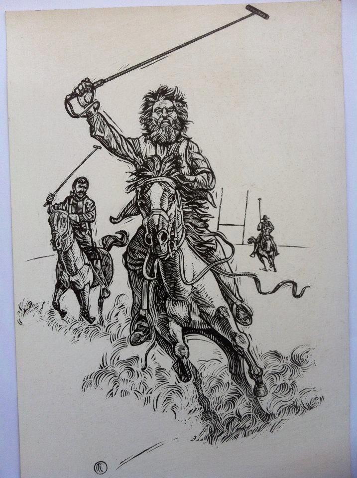 Geebung polo club. Illustration of Banjo Pattersons famous poem by tony pyrzakowski...www.illustrations.com.au facebook/pyrzakowskiscratchboardart