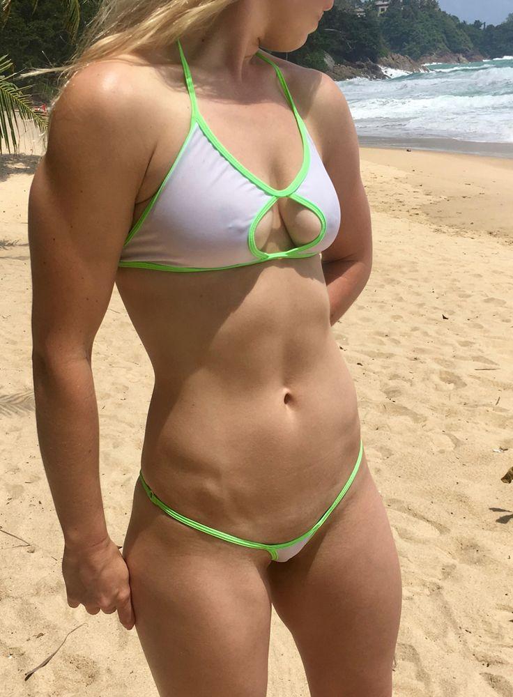 sheer when wet micro bikini with rouche back | desgner ...