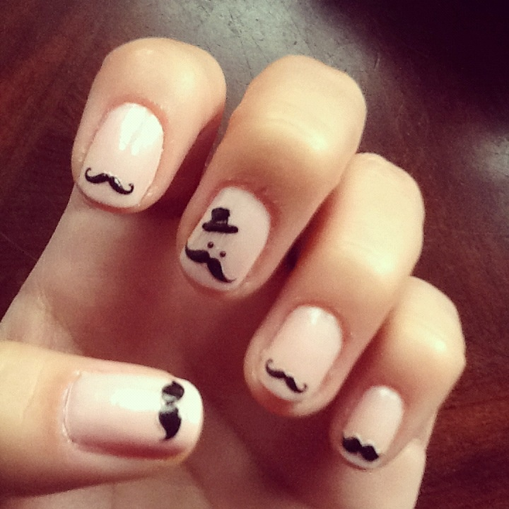 Best 25 mustache nails ideas on pinterest mustache nail art cute mustache nails prinsesfo Image collections