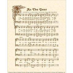 AS THE DEER Hymn Art Custom Christian Home by VintageVerses