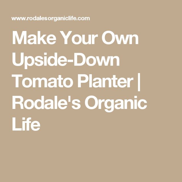 Make Your Own Upside-Down Tomato Planter | Rodale's Organic Life