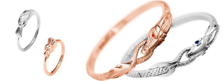 Caspita Ouroboros rings and bracelets